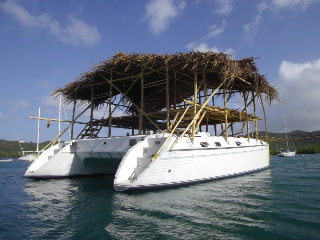 Catamaran with a thatched roof