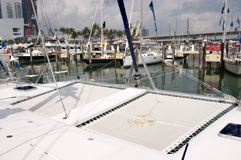 example of a trampoline on a catamaran