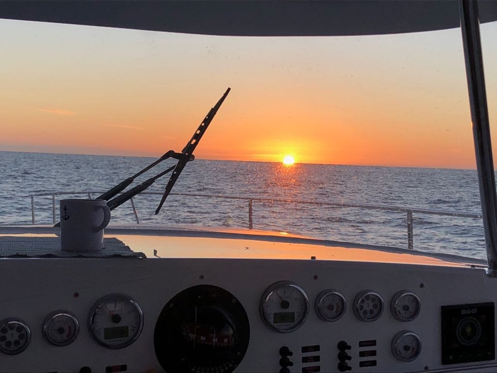 Seahorse Sailing Sunrise from Cockpit