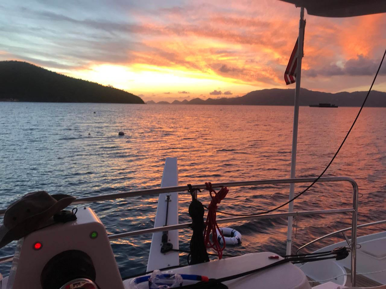 Seahorse anchored at the British Virgin Islands viewing a sunset
