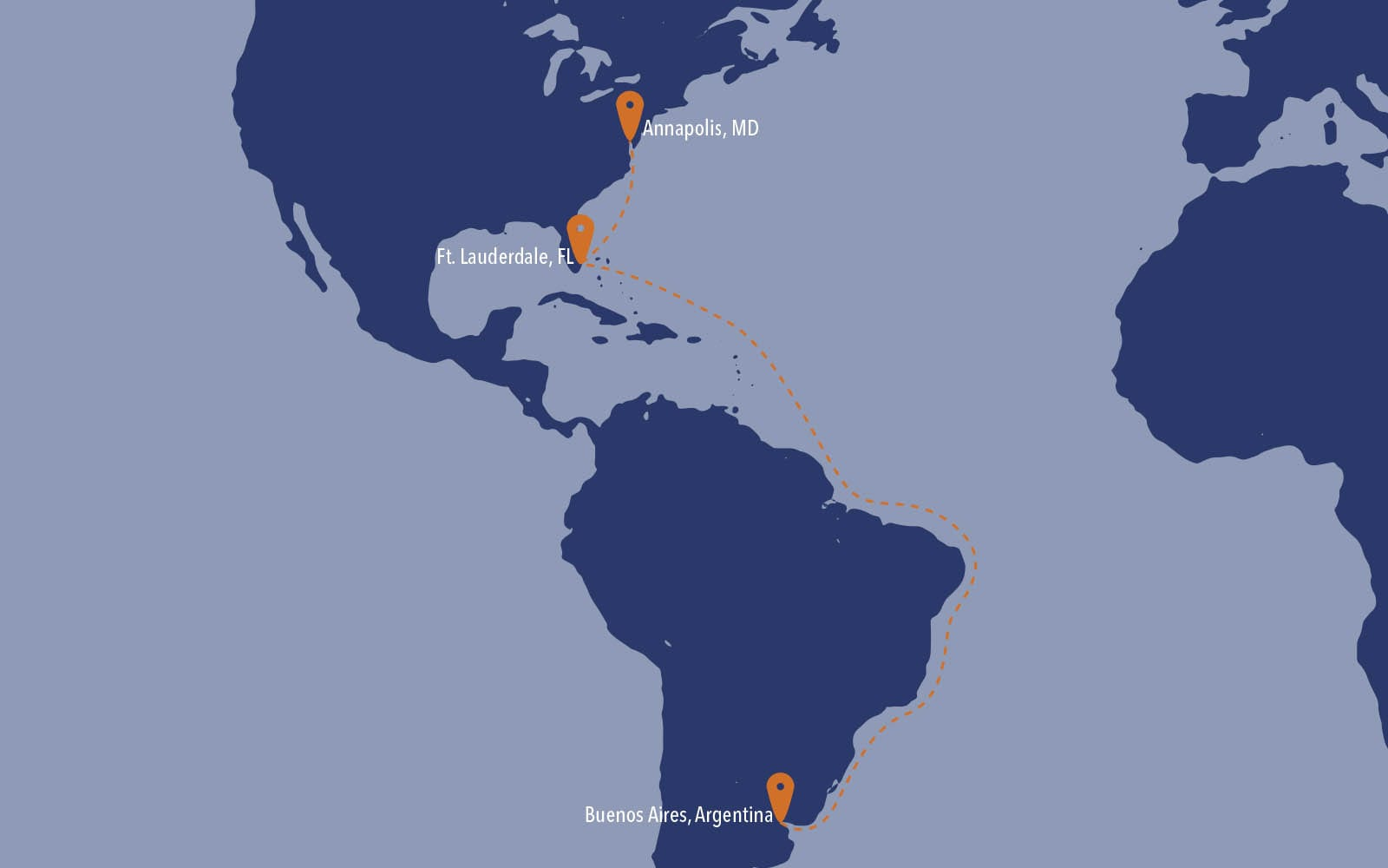 Course of Seahorse as it journeys from Argentina to Miami
